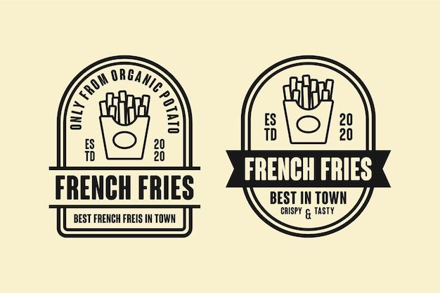 Collezione di design del logo di patatine fritte