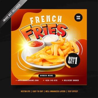 Modello di banner di social media di promozione del menu di patatine fritte