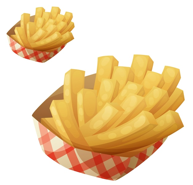 Patatine fritte nell'icona del vettore del cestino della carta