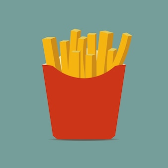 Patatine fritte in scatola di carta. patata di fast food in un pacchetto rosso. illustrazione vettoriale.