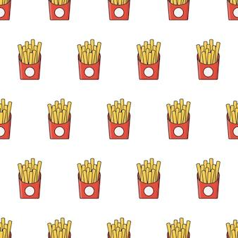 Patatine fritte in scatola di carta modello senza cuciture. illustrazione del tema del fast food