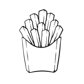 Patatine fritte in una confezione di carta cibo malsano illustrazione vettoriale
