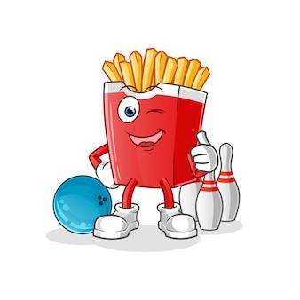 Patatine fritte giocano a bowling illustrazione. personaggio