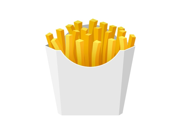Patatine fritte gustoso cibo di strada veloce in scatola di cartone di carta bianca bastoncini di patate fritte mazzo