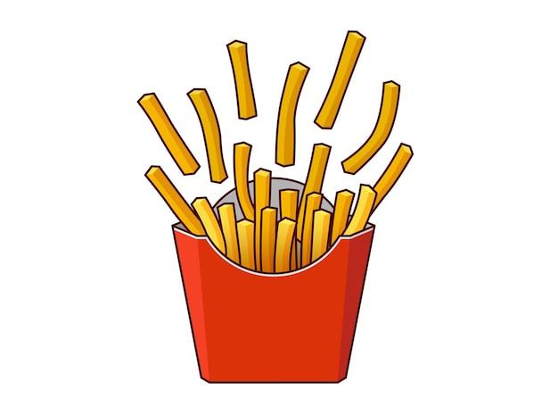 Patatine fritte disseminate di patate croccanti gustose fast food in scatola di cartone di carta rossa vettore