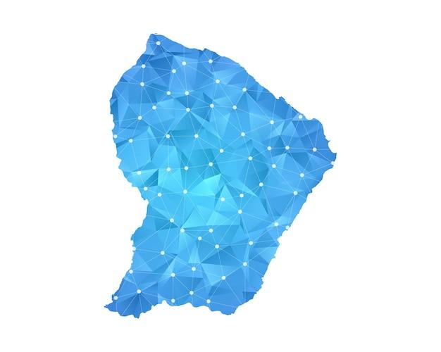 La linea della mappa della guyana francese punteggia la geometria astratta poligonale.