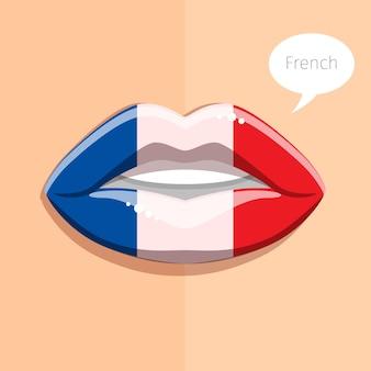 Concetto di lingua francese. labbra glamour con il trucco della bandiera francese, volto di donna. illustrazione di design piatto.