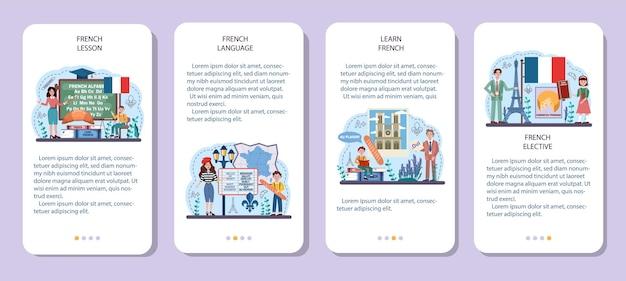 Insieme di concetti di lingua francese. corso di francese in una scuola di lingue. studiare all'estero