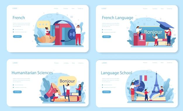 Banner web di apprendimento francese o set di pagine di destinazione