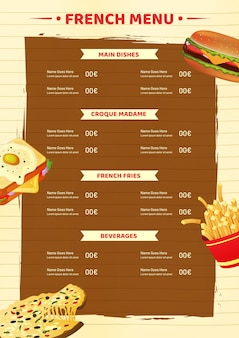 Modello di scheda menu francese o design flyer.