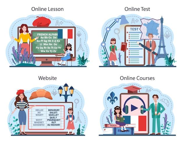 Servizio online francese o set di piattaforme. corso di francese in una scuola di lingue. studia lingue straniere con madrelingua. lezione online, test, corso, sito web. illustrazione vettoriale