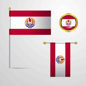 Polinesia francese che sventola progettazione della bandiera con il vettore del distintivo