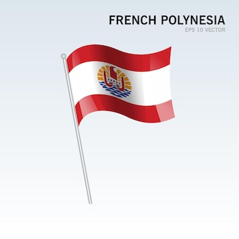 Polinesia francese sventola bandiera isolata su gray
