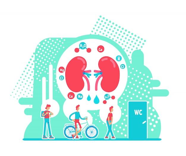 Illustrazione piana di vettore di concetto di minzione frequente. salute degli organi interni maschili. personaggi dei cartoni animati 2d di malattia renale cronica. problema con l'idea creativa dell'apparato digerente
