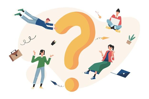 Domande frequenti persone intorno a esclamazioni e punti interrogativi