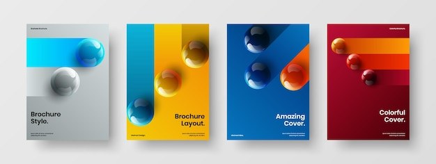 Pacchetto layout del report annuale delle sfere 3d fresche