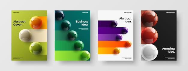 Composizione di concetto di poster di sfere fresche 3d
