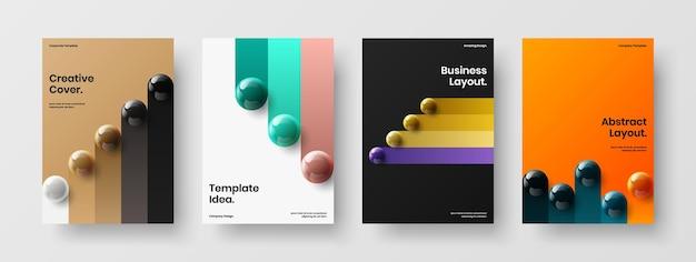 Set di illustrazioni per poster di sfere fresche 3d