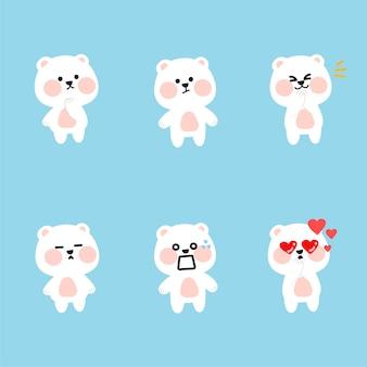 Fresco adorabile orso polare character illustration asset collection