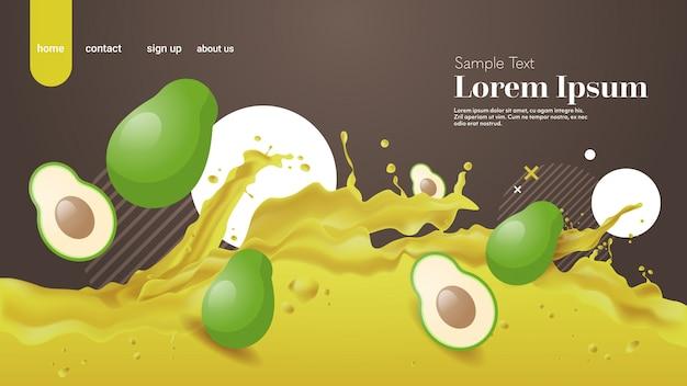 Spruzzata liquida di succo di avocado fresco realistico spruzza frutti sani spruzzi spazio orizzontale copia onde