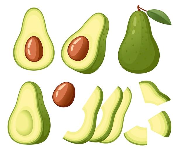 Avocado fresco e fetta di avocado intera illustrazione