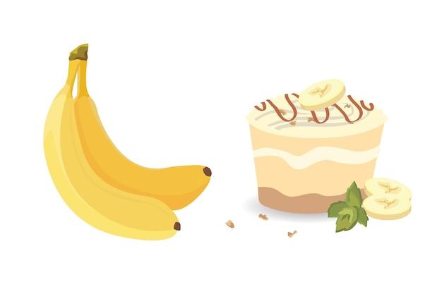 Frutti di banana fresca, raccolta di illustrazioni. banane sbucciate ed affettate isolate