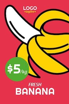 Poster di banane fresche in stile design piatto