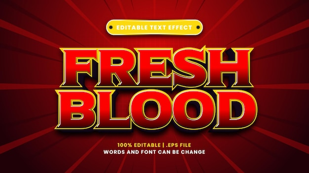 Effetto di testo modificabile con sangue fresco in moderno stile 3d