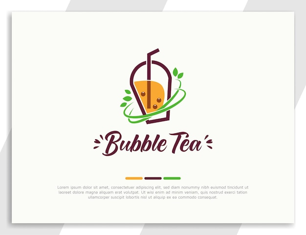 Logo di bubble tea fresco con foglie verdi