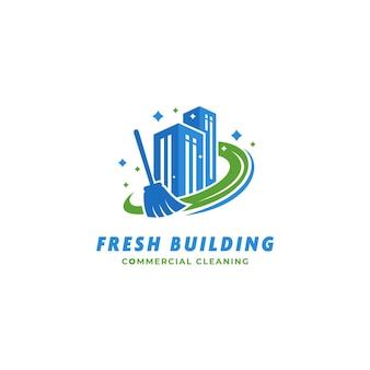 Logo del bidello del servizio di pulizia di edifici commerciali di edifici freschi