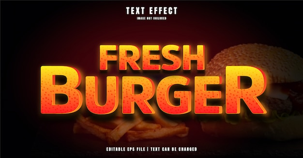 Fresh burger effetto di testo modificabile 3d