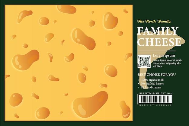 Confezione di formaggio fresco o design di etichette con mucche e vitelli del paesaggio rurale illustrazione realistica del formaggio elementi di design di caseificio o agricoltura