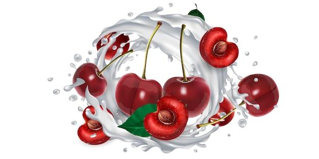 Ciliegie fresche e una spruzzata di latte o yogurt su uno sfondo bianco. illustrazione realistica.