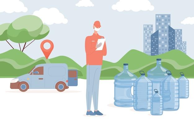 Consegna di acqua in bottiglia fresca e pulita