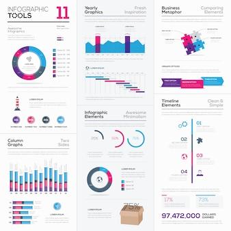 Collezione fresca di vari elementi aziendali infografici