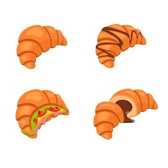 Croissant fresco con cioccolata calda, croissant a fette con cioccolato, panini croissant, croissant. illustrazione.