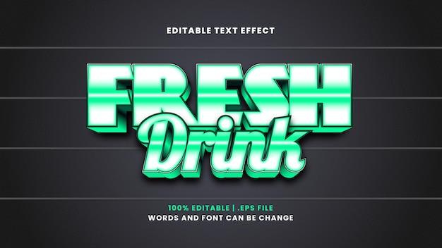 Effetto di testo modificabile per bevande fresche in moderno stile 3d