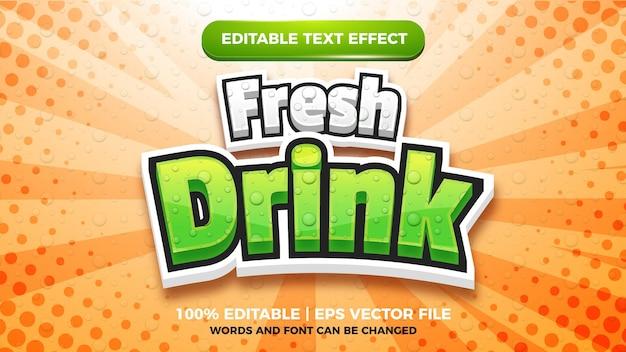 Effetto testo modificabile bevanda fresca drink
