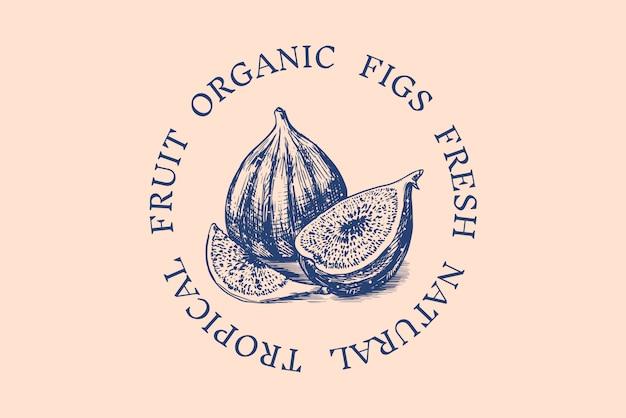 Distintivo di fichi freschi. etichetta o logo del fogliame di frutta. taglia i pezzi. spezie disintossicanti.