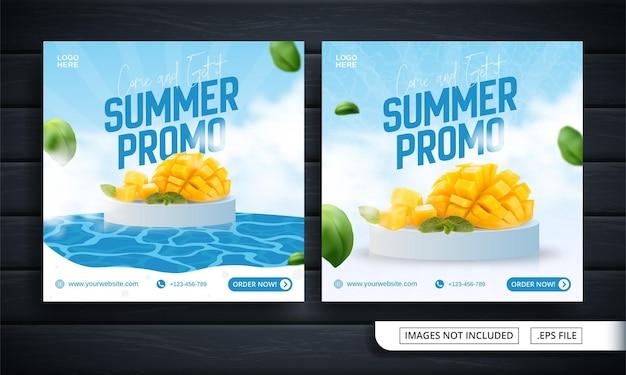 Volantino fresco o banner per social media per la promozione estiva