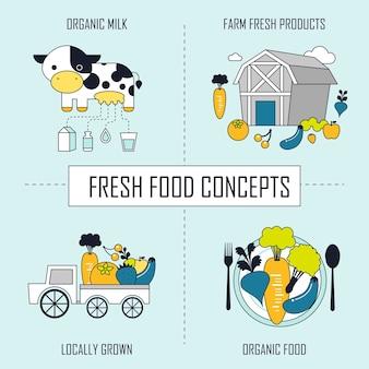 Concetto di cibo fresco: prodotti freschi di fattoria di latte biologico-cibo biologico coltivato localmente in stile linea