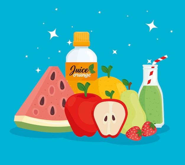 Cibo fresco, frutta sana con succhi in bottiglia
