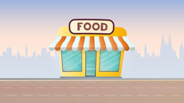 Negozio di alimenti freschi. negozio di alimentari sullo sfondo della città. stile piatto. vettore.