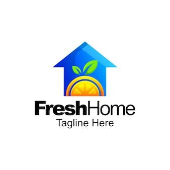 Disegno del modello di sfumatura del logo della casa di frutta fresca