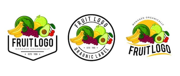 Disegno del modello di logo di frutta fresca