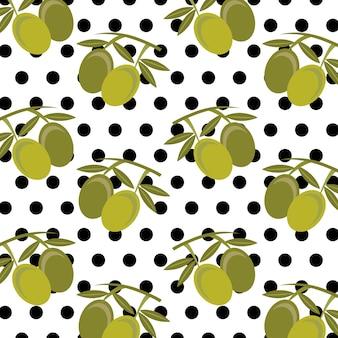 Modello senza cuciture delle foglie e dei pois delle olive della frutta fresca