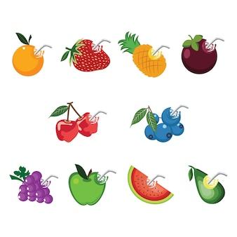 Succo di frutta fresca splash drink sano con paglia Vettore Premium