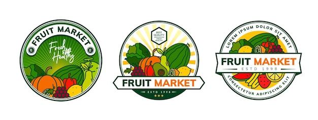 Design del logo di frutta e verdura fresca