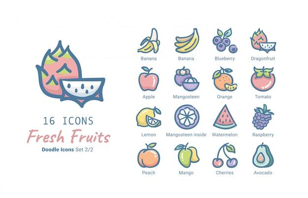 Collezione di icone vettoriali di frutta fresca