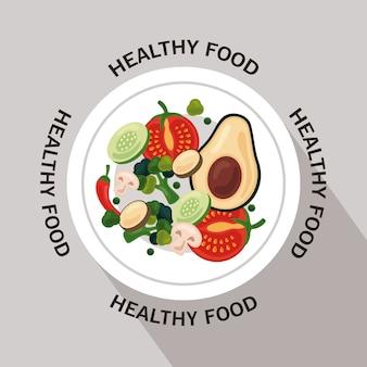 Cornice circolare di cibo sano di frutta e verdura fresca con scritte intorno al disegno di illustrazione